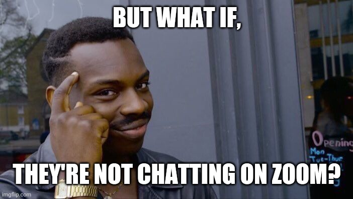 BUT WHAT IF, THEY'RE NOT CHATTING ON ZOOM? | image tagged in memes,roll safe think about it | made w/ Imgflip meme maker