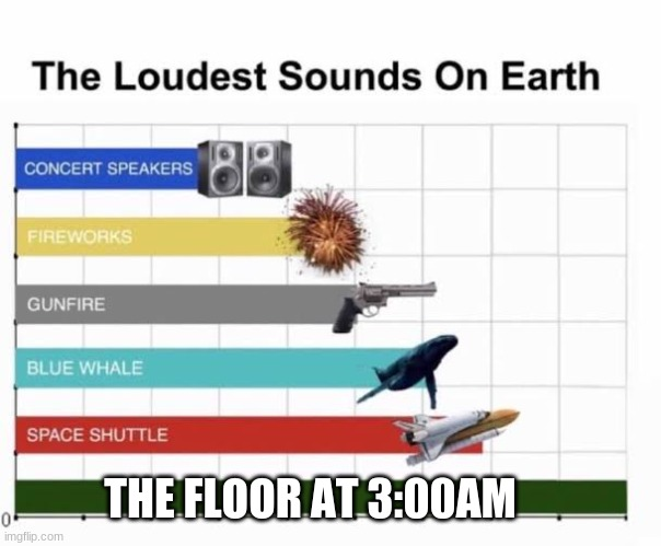 . |  THE FLOOR AT 3:00AM | image tagged in the loudest sounds on earth | made w/ Imgflip meme maker