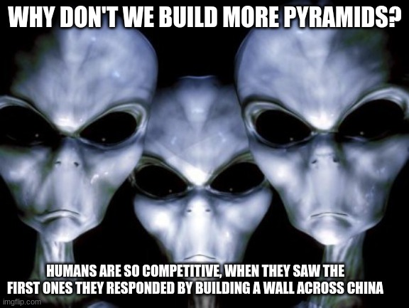 Yo space dudes, that's not what happened |  WHY DON'T WE BUILD MORE PYRAMIDS? HUMANS ARE SO COMPETITIVE, WHEN THEY SAW THE FIRST ONES THEY RESPONDED BY BUILDING A WALL ACROSS CHINA | image tagged in angry aliens,that's ot what happened,space dudes,great wall of china,pyramids,humans are strange | made w/ Imgflip meme maker