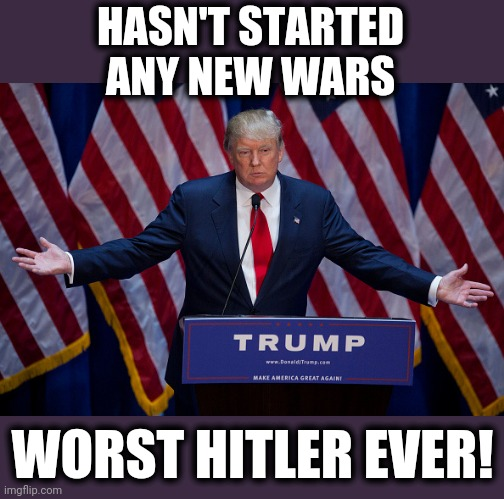 Donald Trump |  HASN'T STARTED ANY NEW WARS; WORST HITLER EVER! | image tagged in donald trump,memes,no new wars,worst hitler ever,stupid liberals | made w/ Imgflip meme maker