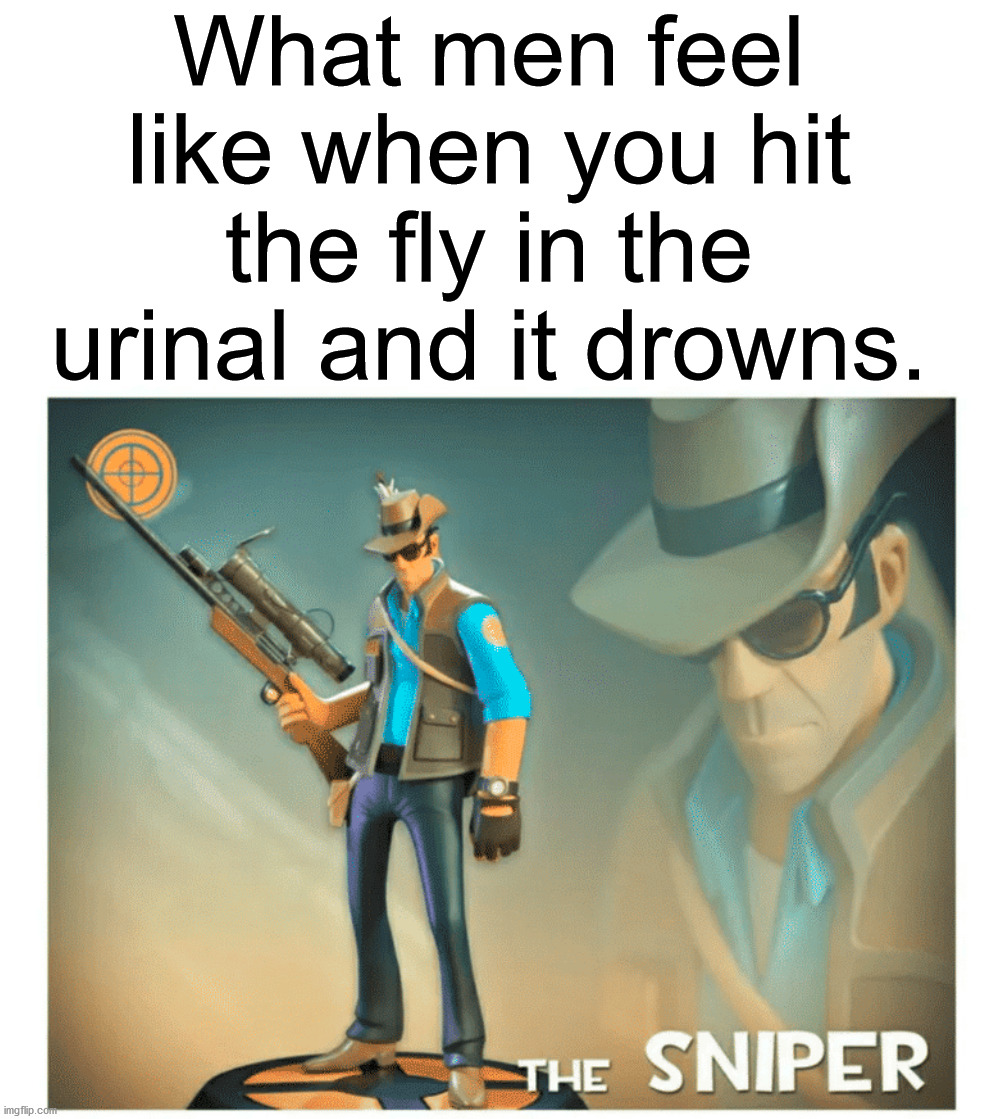 It pretty much goes for anything in the urinal. |  What men feel like when you hit the fly in the urinal and it drowns. | image tagged in bathroom humor,urinal,sniper,target practice,fly | made w/ Imgflip meme maker