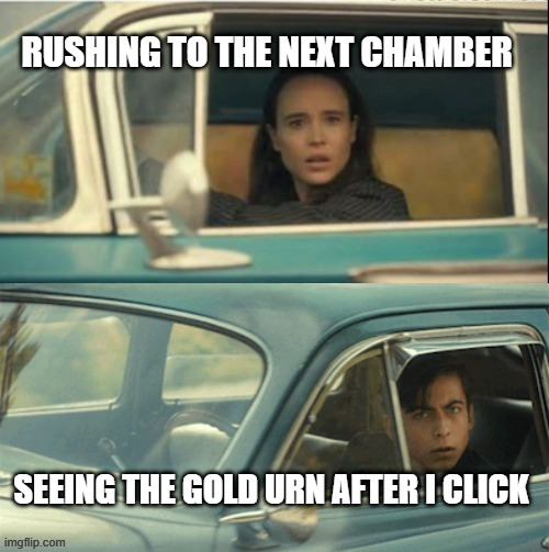 Vanya and Five |  RUSHING TO THE NEXT CHAMBER; SEEING THE GOLD URN AFTER I CLICK | image tagged in vanya and five,HadesTheGame | made w/ Imgflip meme maker
