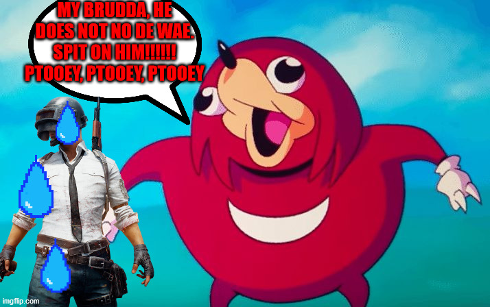 Ugandan Knuckles hates people who don't no de wae |  MY BRUDDA, HE DOES NOT NO DE WAE. SPIT ON HIM!!!!!! PTOOEY, PTOOEY, PTOOEY | image tagged in ugandan knuckles,funny,pubg | made w/ Imgflip meme maker