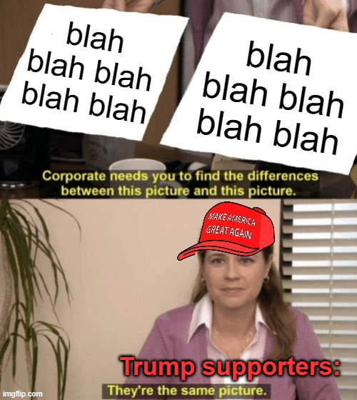 Corporate needs you to find the differences MAGA hat |  blah blah blah blah blah; blah blah blah blah blah; Trump supporters: | image tagged in corporate needs you to find the differences maga hat,corporate needs you to find the differences,popular templates | made w/ Imgflip meme maker