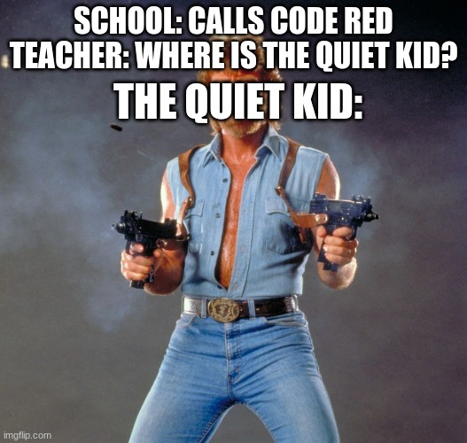 Quiet kid funny funny |  SCHOOL: CALLS CODE RED TEACHER: WHERE IS THE QUIET KID? THE QUIET KID: | image tagged in memes,chuck norris guns,chuck norris | made w/ Imgflip meme maker