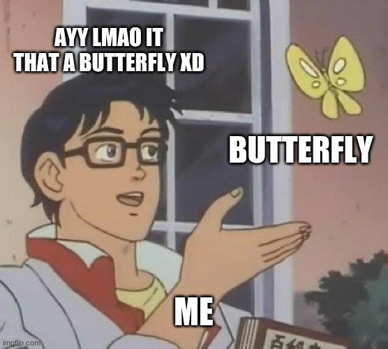 Is This A Pigeon |  AYY LMAO IT THAT A BUTTERFLY XD; BUTTERFLY; ME | image tagged in memes,is this a pigeon | made w/ Imgflip meme maker