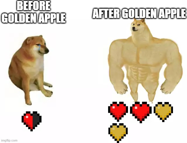 Seems about right |  BEFORE GOLDEN APPLE; AFTER GOLDEN APPLE | image tagged in cheems vs buuf cheems,minecraft | made w/ Imgflip meme maker