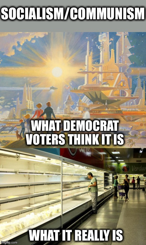 Communism |  SOCIALISM/COMMUNISM; WHAT DEMOCRAT VOTERS THINK IT IS; WHAT IT REALLY IS | image tagged in communism,communist socialist,democrats,democratic socialism,alexandria ocasio-cortez,memes | made w/ Imgflip meme maker