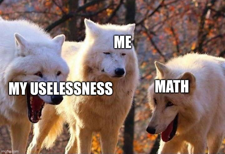 just a meme hello |  ME; MATH; MY USELESSNESS | image tagged in laughing wolf | made w/ Imgflip meme maker