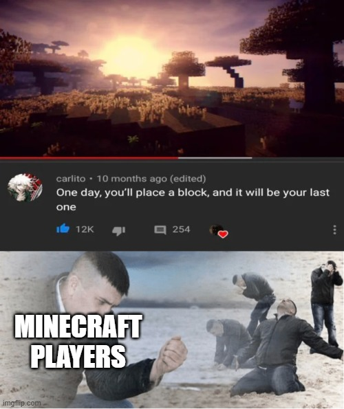The final block |  MINECRAFT PLAYERS | image tagged in english teacher why,memes,funny,minecraft,block,last | made w/ Imgflip meme maker