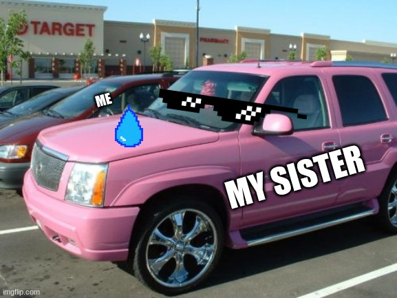 Pink Escalade |  ME; MY SISTER | image tagged in memes,pink escalade | made w/ Imgflip meme maker