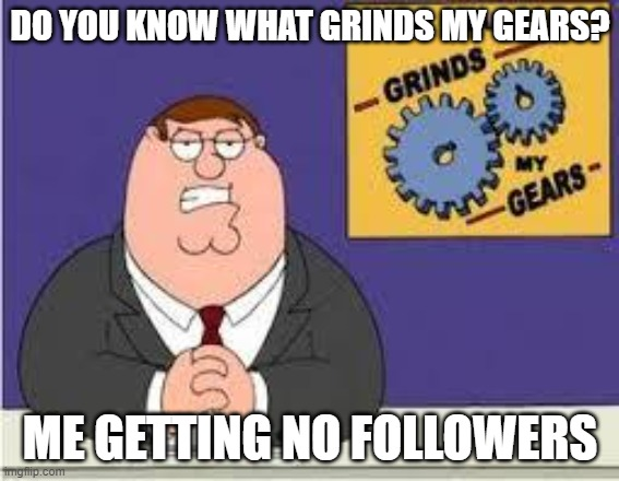 You know what really grinds my gears |  DO YOU KNOW WHAT GRINDS MY GEARS? ME GETTING NO FOLLOWERS | image tagged in you know what really grinds my gears | made w/ Imgflip meme maker