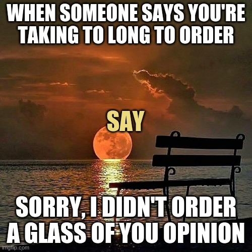 Insults |  WHEN SOMEONE SAYS YOU'RE TAKING TO LONG TO ORDER; SAY; SORRY, I DIDN'T ORDER A GLASS OF YOU OPINION | image tagged in romantic sunset,insult,comeback | made w/ Imgflip meme maker