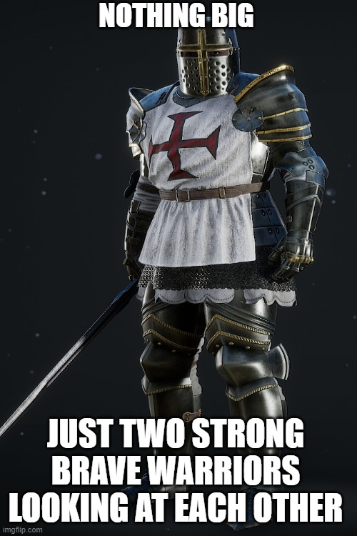 its nothing big |  NOTHING BIG; JUST TWO STRONG BRAVE WARRIORS LOOKING AT EACH OTHER | image tagged in crusader,wholesome | made w/ Imgflip meme maker