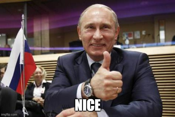 NICE | image tagged in putin thumbs up | made w/ Imgflip meme maker