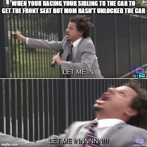 Eric Andre Let me In Meme |  WHEN YOUR RACING YOUR SIBLING TO THE CAR TO GET THE FRONT SEAT BUT MOM HASN'T UNLOCKED THE CAR | image tagged in eric andre let me in meme | made w/ Imgflip meme maker