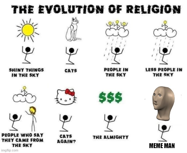Worship Meme Man! |  MEME MAN | image tagged in the evolution of religion | made w/ Imgflip meme maker