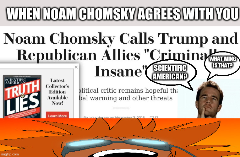 seriously folks, its synchronicity |  WHEN NOAM CHOMSKY AGREES WITH YOU; WHAT WING IS THAT? SCIENTIFIC AMERICAN? | made w/ Imgflip meme maker