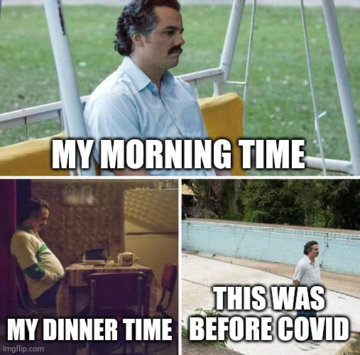 I'm so lonely |  MY MORNING TIME; MY DINNER TIME; THIS WAS BEFORE COVID | image tagged in memes,sad pablo escobar,forever alone,lonely | made w/ Imgflip meme maker