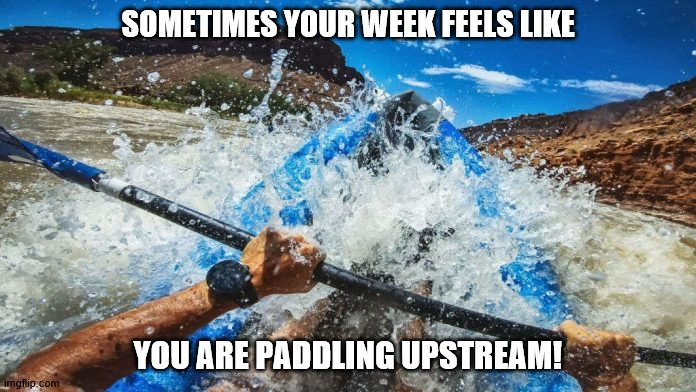 Paddling Upstream |  SOMETIMES YOUR WEEK FEELS LIKE; YOU ARE PADDLING UPSTREAM! | image tagged in paddling,upstream,paddling upstream,hard week | made w/ Imgflip meme maker