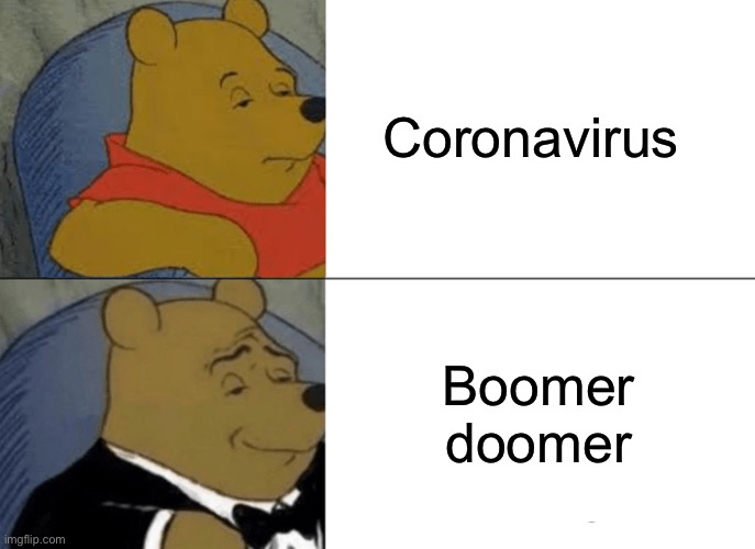 This is what we should call it |  Coronavirus; Boomer doomer | image tagged in memes,tuxedo winnie the pooh,covid-19,boomer,doom | made w/ Imgflip meme maker