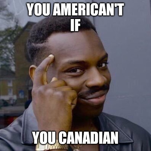 Thinking Black Guy |  YOU AMERICAN'T IF; YOU CANADIAN | image tagged in thinking black guy | made w/ Imgflip meme maker