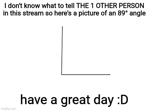 89° |  I don't know what to tell THE 1 OTHER PERSON in this stream so here's a picture of an 89° angle; have a great day :D | image tagged in hello | made w/ Imgflip meme maker