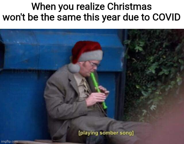 Guess I won't be seeing my extended family this year |  When you realize Christmas won't be the same this year due to COVID | image tagged in dwight playing somber song santa hat,christmas,covid-19,christmas 2020,holidays 2020,feliz navidad | made w/ Imgflip meme maker
