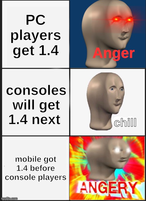 the context is terraria |  PC players get 1.4; Anger; consoles will get 1.4 next; chill; mobile got 1.4 before console players | image tagged in memes,panik kalm panik | made w/ Imgflip meme maker
