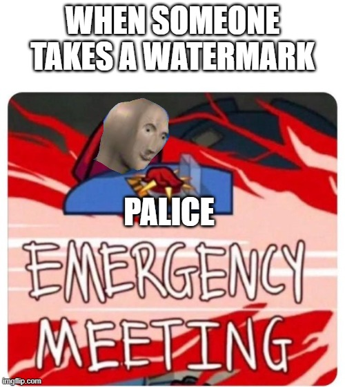 Emergency Meeting Among Us |  WHEN SOMEONE TAKES A WATERMARK; PALICE | image tagged in emergency meeting among us | made w/ Imgflip meme maker