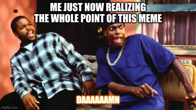 DAAAAMN | ME JUST NOW REALIZING THE WHOLE POINT OF THIS MEME DAAAAAAMN | image tagged in daaaamn | made w/ Imgflip meme maker