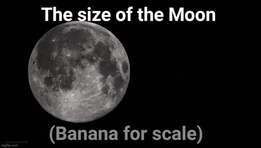 [If we're going to have a space program, we need a clear sense of scale] | image tagged in the size of the moon banana for scale,repost,moon | made w/ Imgflip meme maker