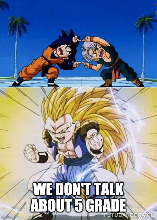 WE DON'T TALK ABOUT 5 GRADE | image tagged in dbz fusion | made w/ Imgflip meme maker