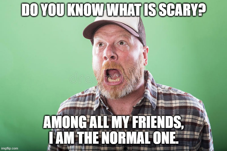 Normal |  DO YOU KNOW WHAT IS SCARY? AMONG ALL MY FRIENDS, I AM THE NORMAL ONE. | image tagged in scary,normal,friends,scary things | made w/ Imgflip meme maker