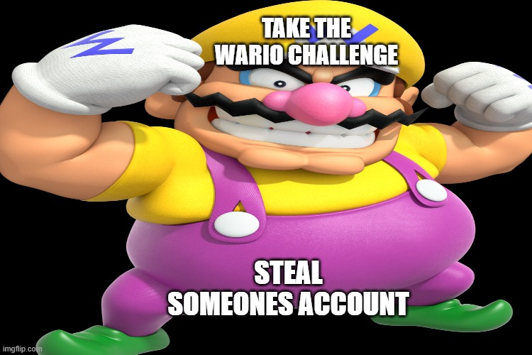 wario challenge |  TAKE THE WARIO CHALLENGE; STEAL SOMEONES ACCOUNT | image tagged in super mario,wario | made w/ Imgflip meme maker