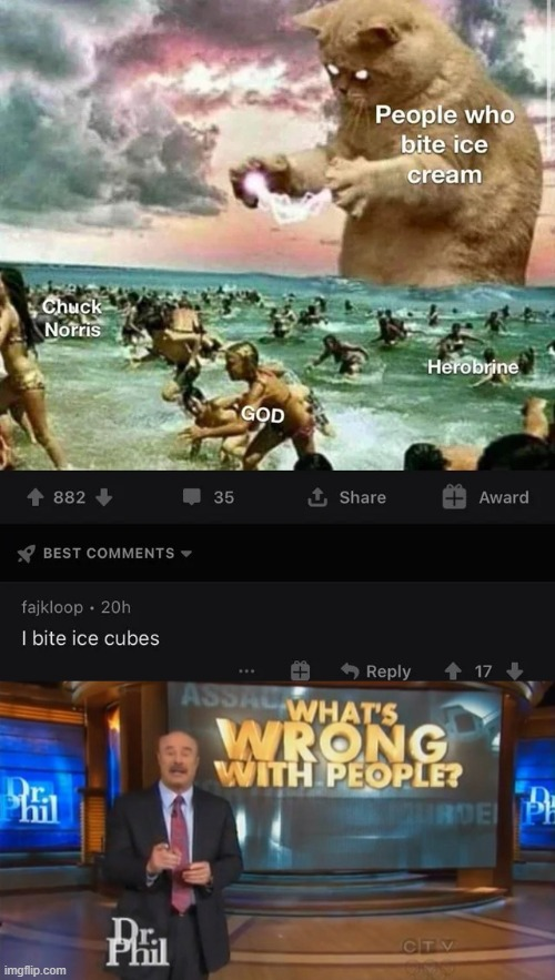 Ice cube biter | image tagged in dr phil what's wrong with people,memes,funny,ice cube,bite | made w/ Imgflip meme maker