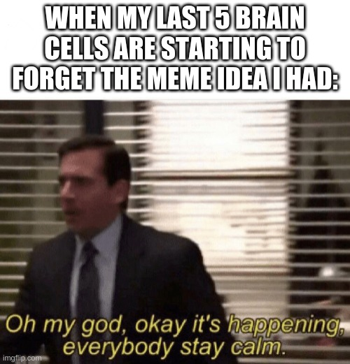 Life... |  WHEN MY LAST 5 BRAIN CELLS ARE STARTING TO FORGET THE MEME IDEA I HAD: | image tagged in oh my god okay it's happening everybody stay calm | made w/ Imgflip meme maker