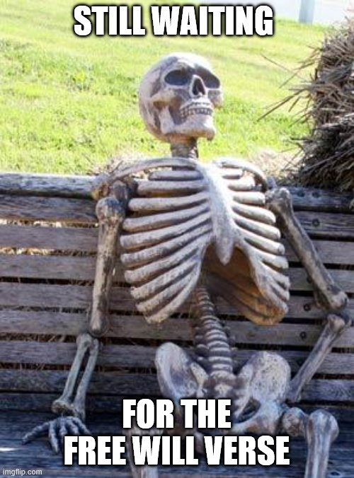 Waiting Skeleton |  STILL WAITING; FOR THE FREE WILL VERSE | image tagged in memes,waiting skeleton | made w/ Imgflip meme maker