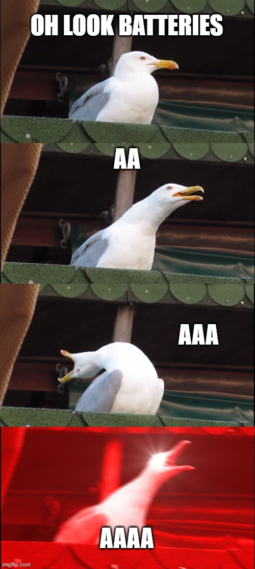Inhaling Seagull Meme | OH LOOK BATTERIES AA AAA AAAA | image tagged in memes,inhaling seagull | made w/ Imgflip meme maker