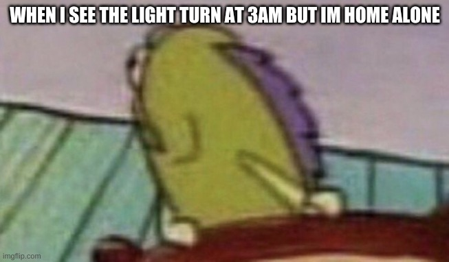 Spongebob Fish looking back |  WHEN I SEE THE LIGHT TURN AT 3AM BUT IM HOME ALONE | image tagged in spongebob fish looking back | made w/ Imgflip meme maker