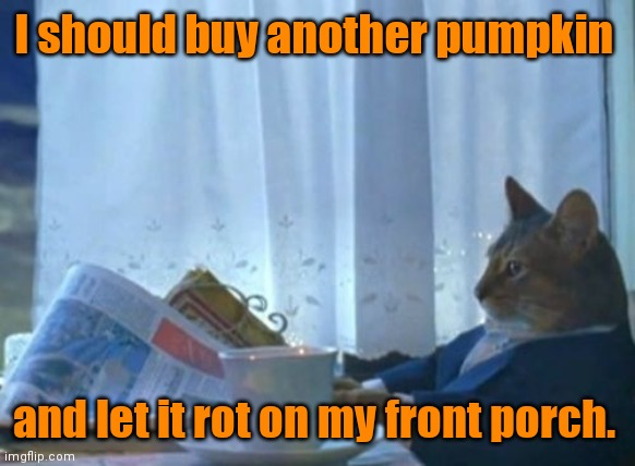 They usually hang around until Christmas. |  I should buy another pumpkin; and let it rot on my front porch. | image tagged in memes,i should buy a boat cat,pumpkin,mildlyfunny | made w/ Imgflip meme maker