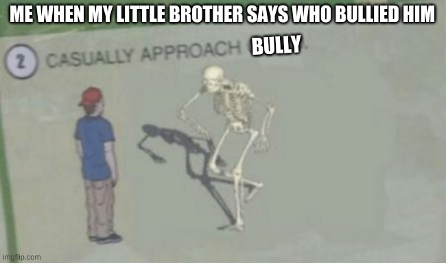 Casually Approach Child |  ME WHEN MY LITTLE BROTHER SAYS WHO BULLIED HIM; BULLY | image tagged in casually approach child | made w/ Imgflip meme maker