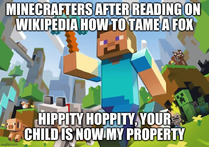 My child now |  MINECRAFTERS AFTER READING ON  WIKIPEDIA HOW TO TAME A FOX; HIPPITY HOPPITY, YOUR CHILD IS NOW MY PROPERTY | image tagged in minecraft | made w/ Imgflip meme maker