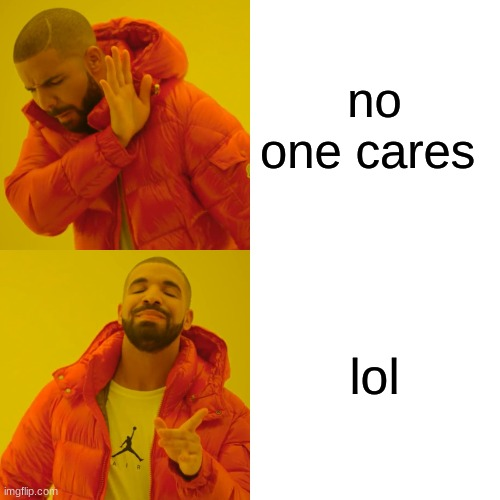 no one cares lol | image tagged in memes,drake hotline bling | made w/ Imgflip meme maker