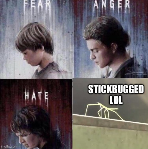 this is where the fun begins |  STICKBUGGED LOL | image tagged in star wars prequels,get stick bugged lol,anakin skywalker | made w/ Imgflip meme maker