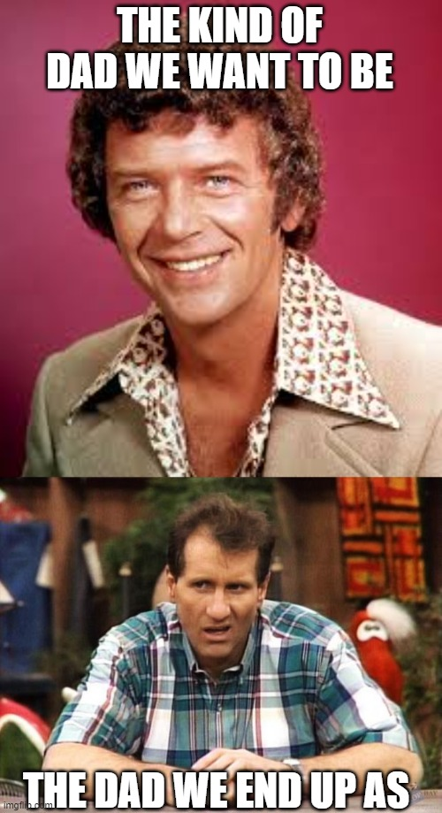 THE KIND OF DAD WE WANT TO BE; THE DAD WE END UP AS | image tagged in al bundy,mike brady | made w/ Imgflip meme maker