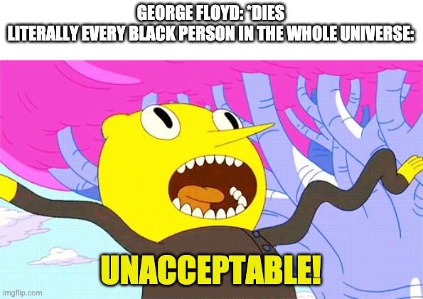 BLM |  GEORGE FLOYD: *DIES  LITERALLY EVERY BLACK PERSON IN THE WHOLE UNIVERSE:; UNACCEPTABLE! | image tagged in unacceptable,black lives matter | made w/ Imgflip meme maker