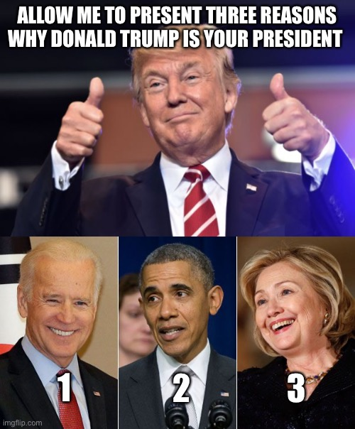 3 Reasons |  ALLOW ME TO PRESENT THREE REASONS WHY DONALD TRUMP IS YOUR PRESIDENT; 1; 2; 3 | image tagged in joe biden,barack obama,hillary clinton | made w/ Imgflip meme maker