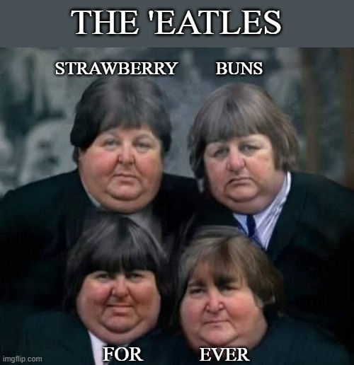 Beatles |  THE 'EATLES; BUNS; STRAWBERRY; FOR; EVER | image tagged in fat,beatles | made w/ Imgflip meme maker