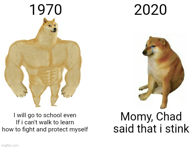 Buff Doge vs. Cheems |  1970; 2020; I will go to school even If i can't walk to learn how to fight and protect myself; Momy, Chad said that i stink | image tagged in memes,buff doge vs cheems | made w/ Imgflip meme maker
